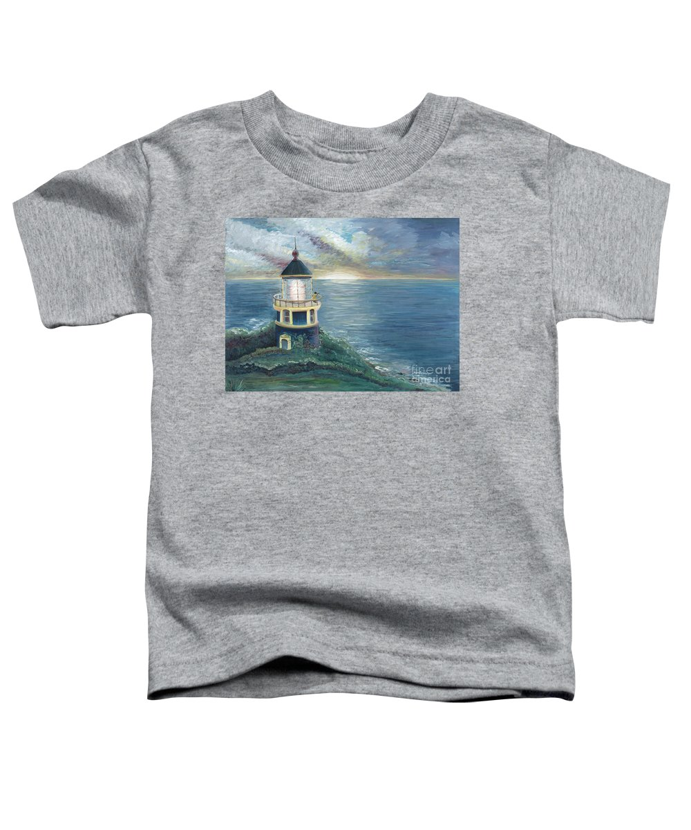 Lighthouse Toddler T-Shirt featuring the painting The Lighthouse by Nadine Rippelmeyer