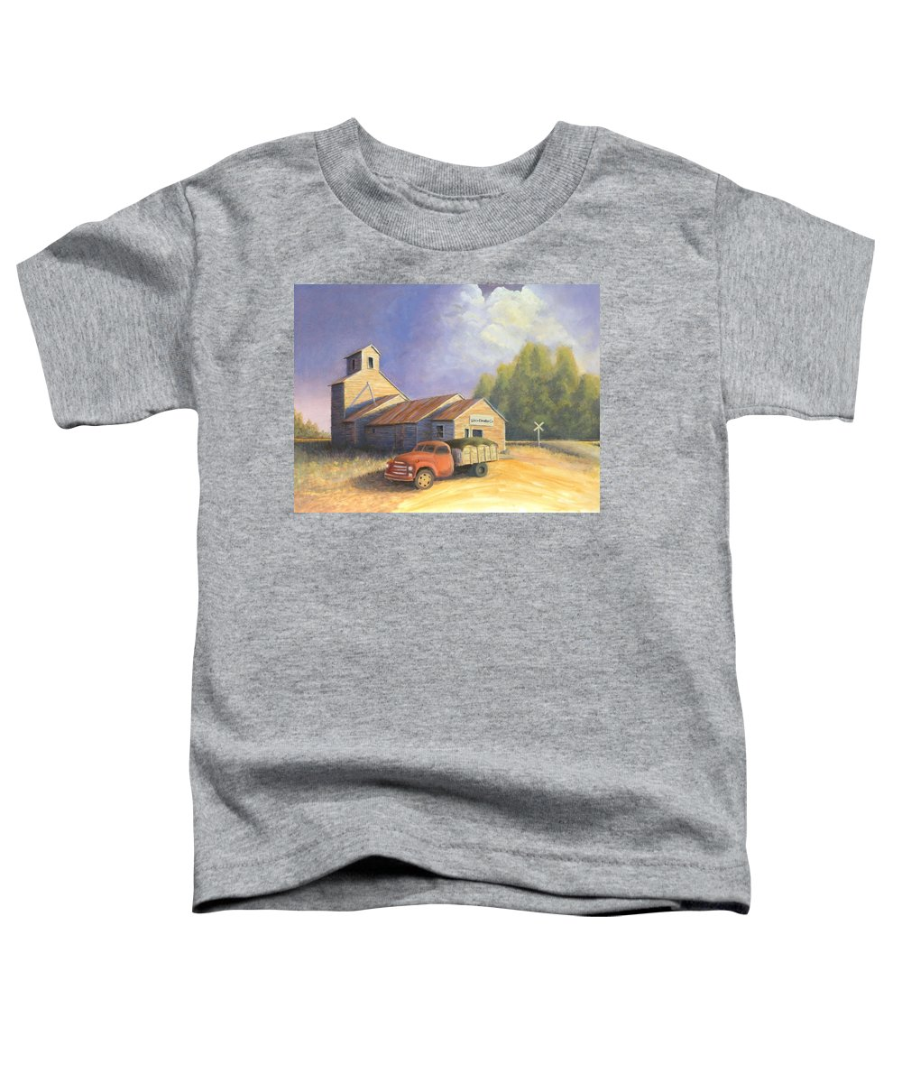 Nebraska Toddler T-Shirt featuring the painting The Lisco Elevator by Jerry McElroy