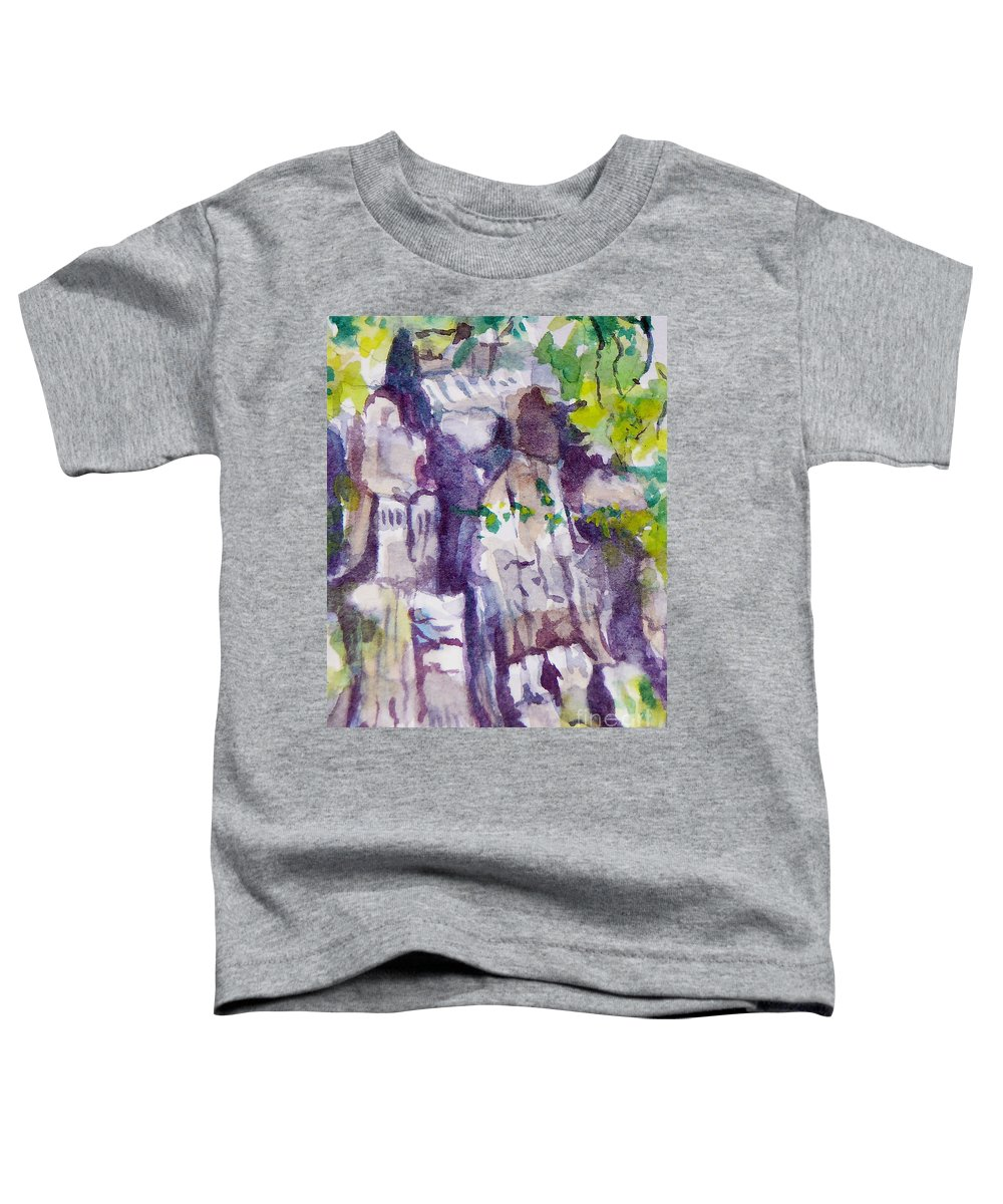 Purple Toddler T-Shirt featuring the painting The Little Climbing Wall by Jan Bennicoff