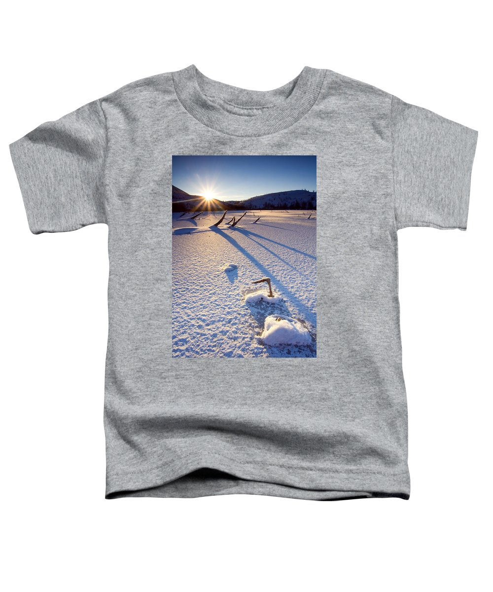 Sunrise Toddler T-Shirt featuring the photograph The Long Shadows Of Winter by Mike Dawson