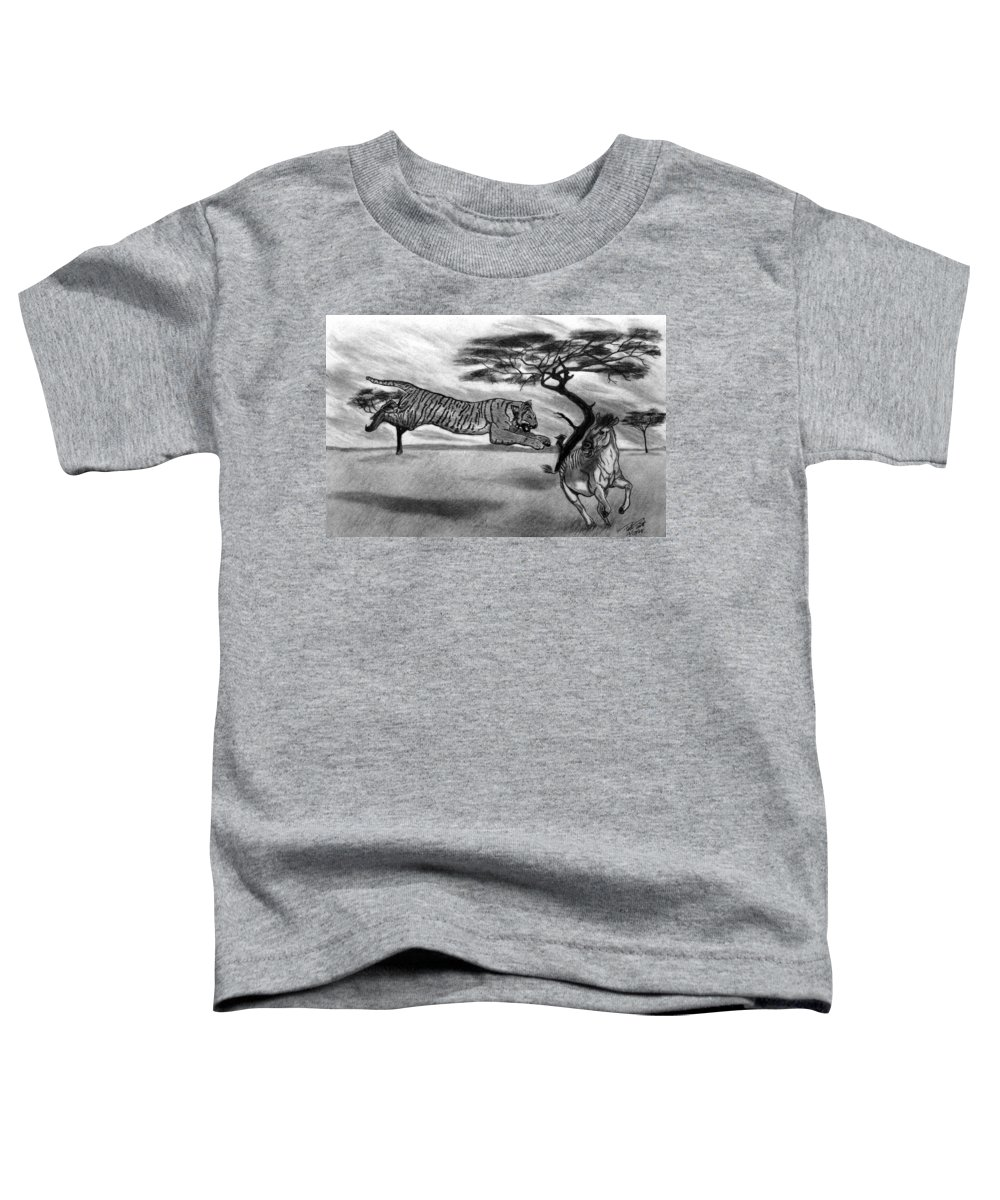 The Lunge Toddler T-Shirt featuring the drawing The Lunge by Peter Piatt