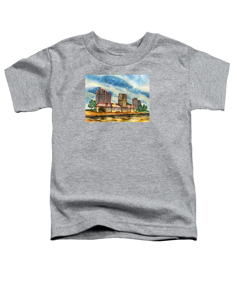Cityscape Toddler T-Shirt featuring the painting The Old Train Station  by Ragon Steele