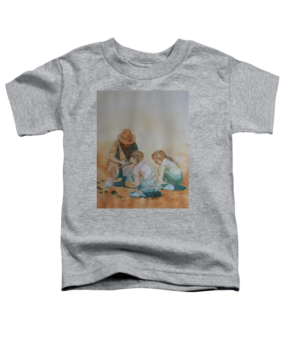 Fathers Toddler T-Shirt featuring the painting The Pumice Seekers by Jenny Armitage