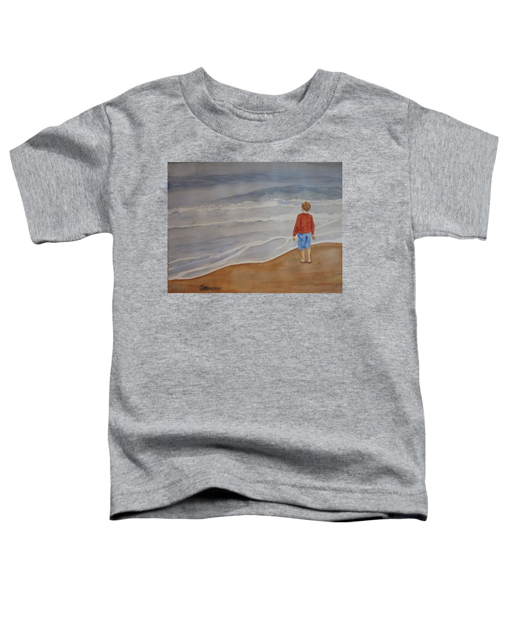 Boy Toddler T-Shirt featuring the painting The Red Shirt by Jenny Armitage