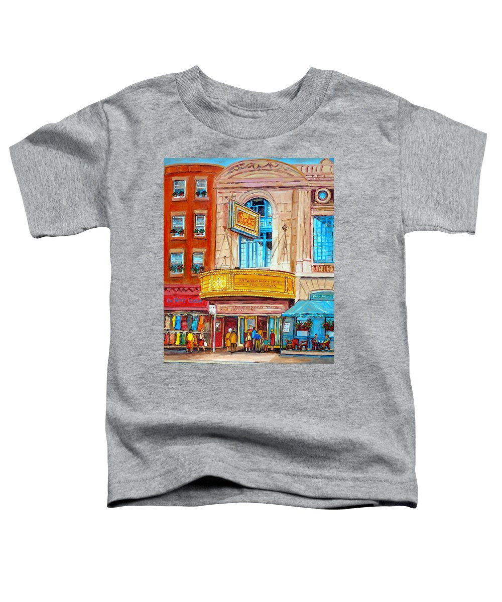 Montreal Toddler T-Shirt featuring the painting The Rialto Theatre Montreal by Carole Spandau