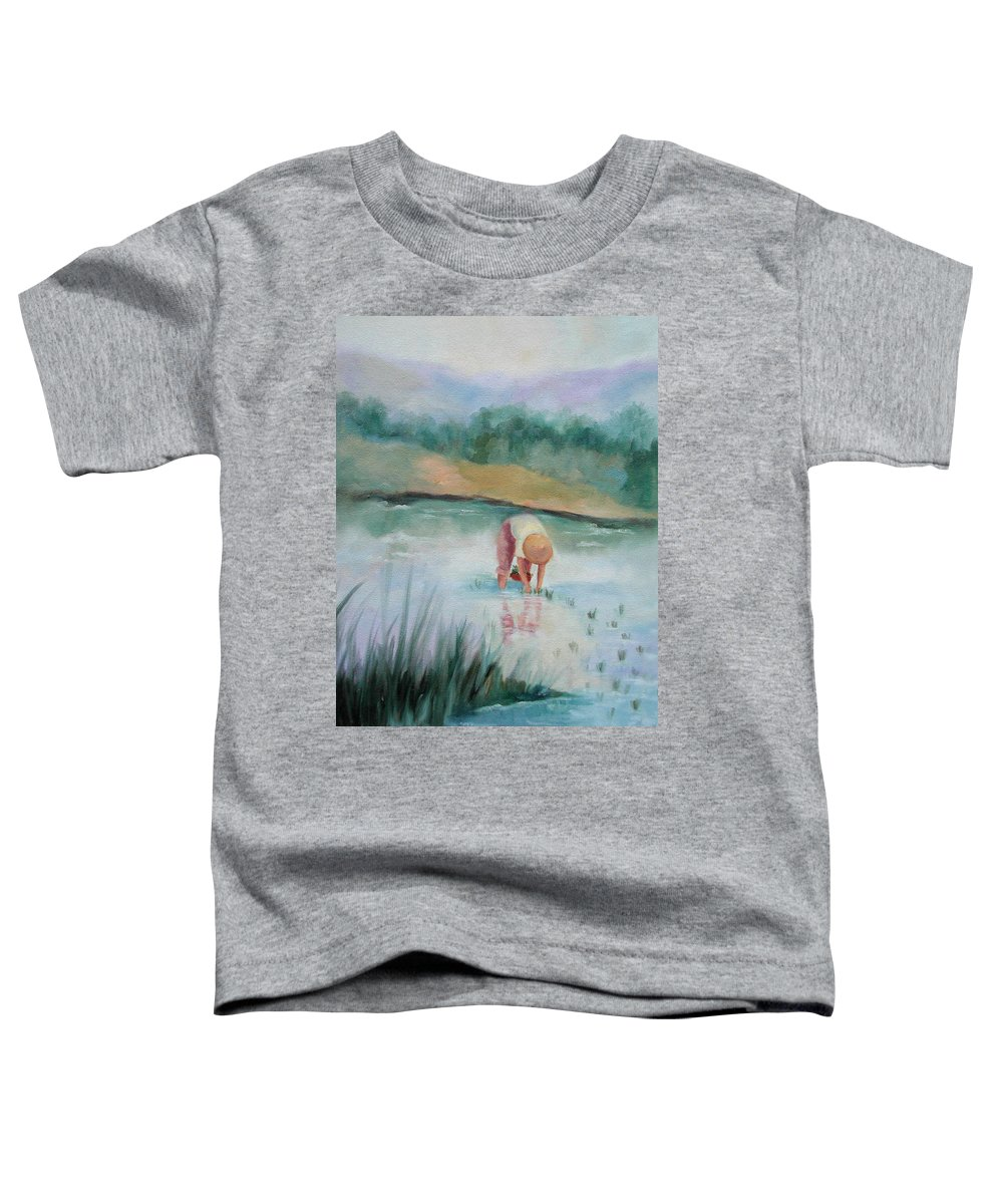 Figurative Toddler T-Shirt featuring the painting The Rice Planter by Ginger Concepcion