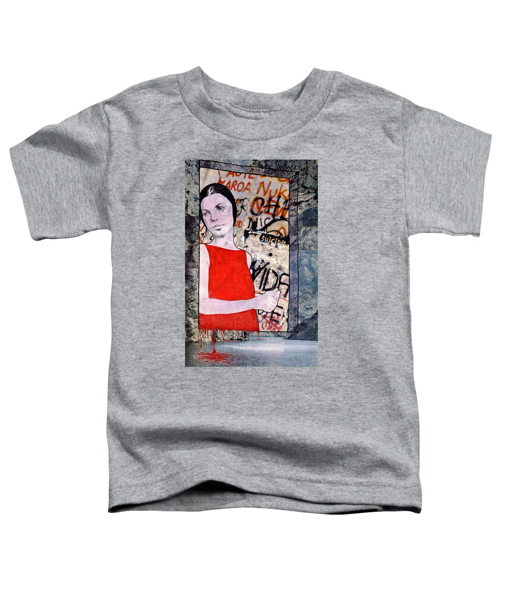 Woman Window Wall Water Blood Life Toddler T-Shirt featuring the mixed media The Window by Veronica Jackson