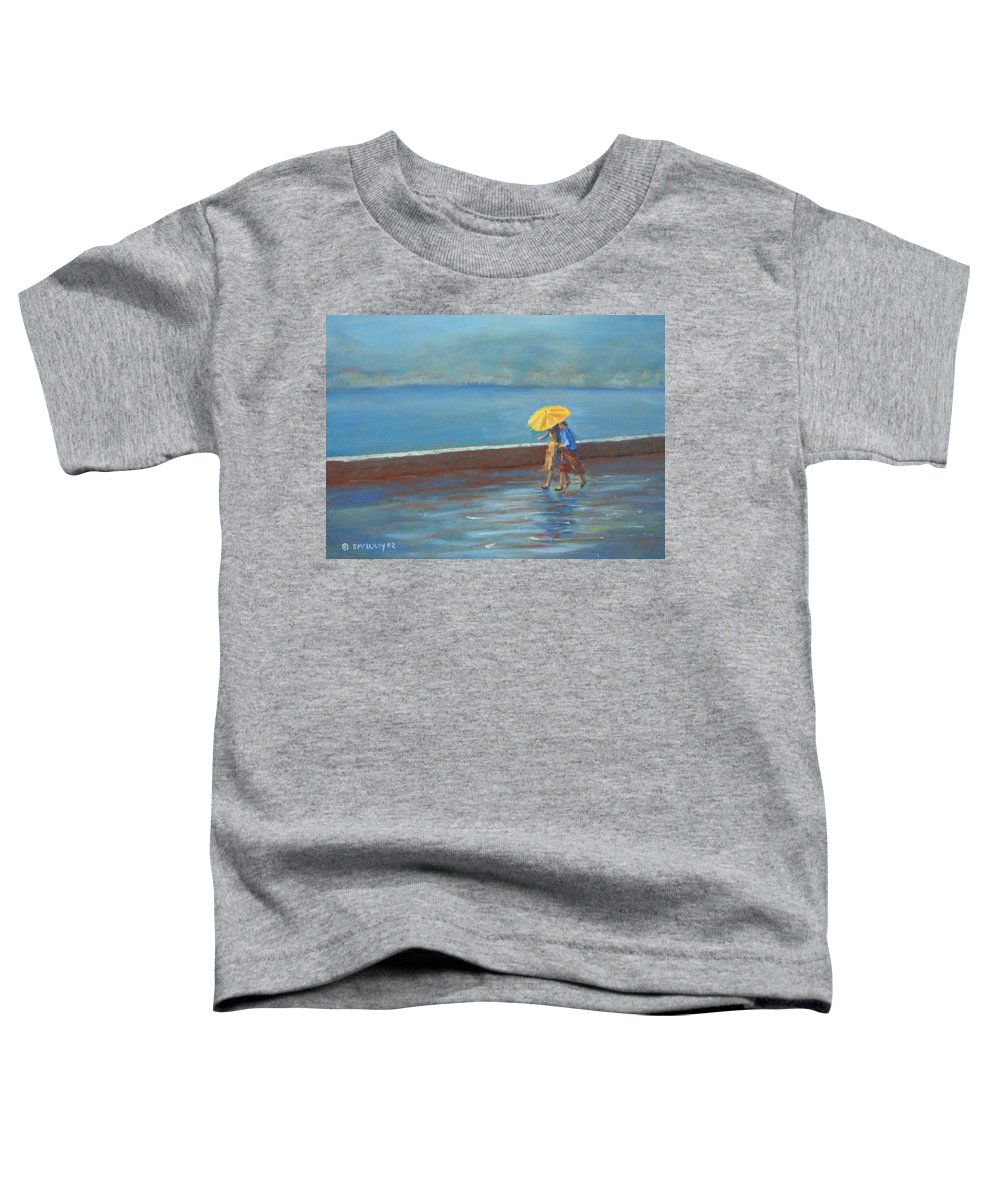 Rain Toddler T-Shirt featuring the painting The Yellow Umbrella by Jerry McElroy