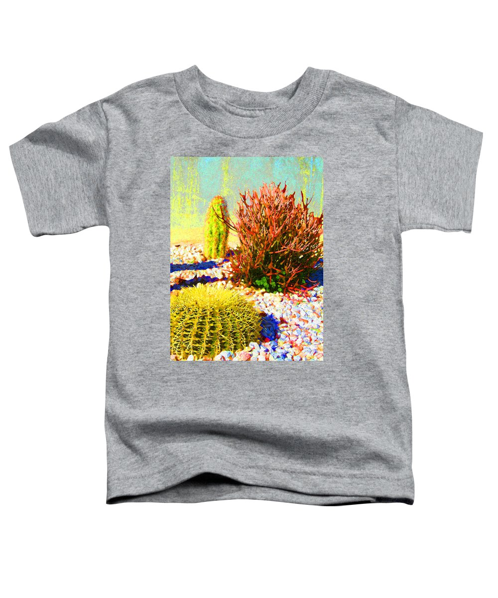 Landscape Toddler T-Shirt featuring the painting Three Cacti by Amy Vangsgard