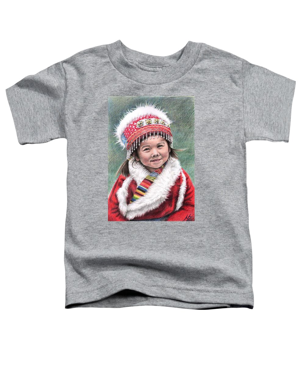 Girl Toddler T-Shirt featuring the drawing Tibetan Girl by Nicole Zeug