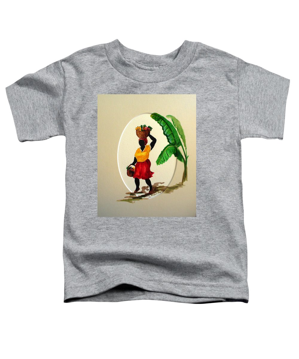 Caribbean Market Womanfruit & Veg Toddler T-Shirt featuring the painting To Market by Karin Dawn Kelshall- Best