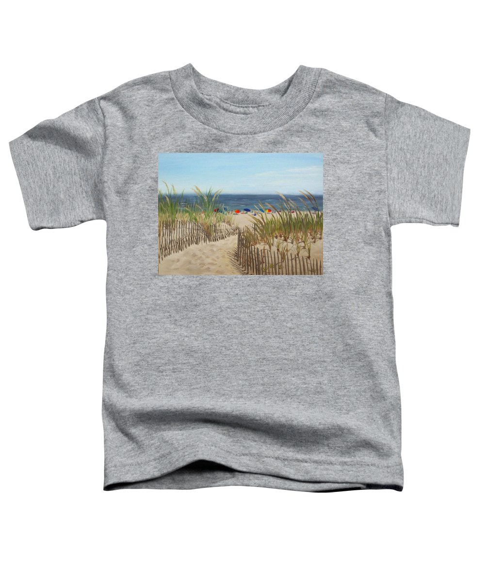 Beach Toddler T-Shirt featuring the painting To The Beach by Lea Novak