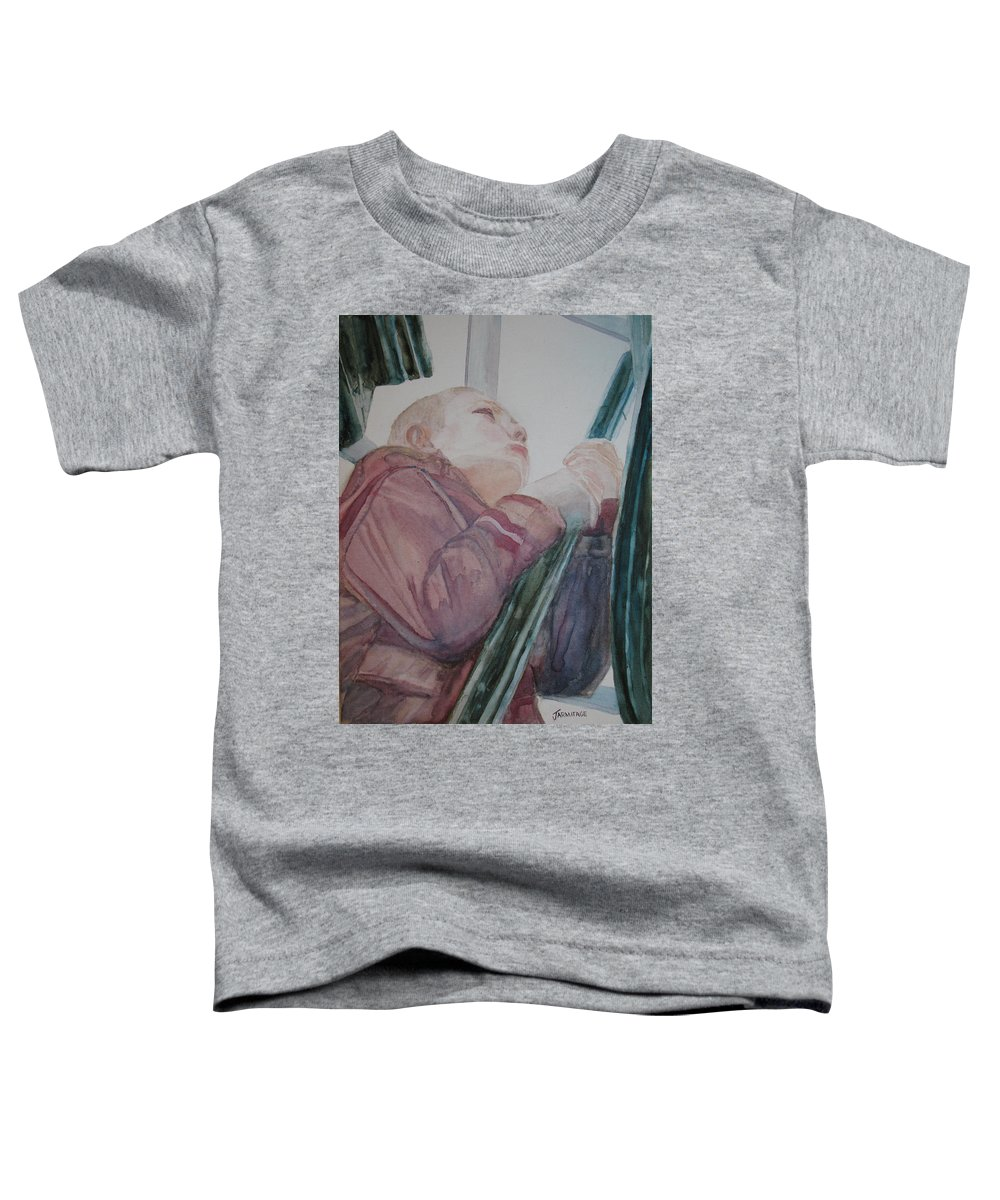 Boy Toddler T-Shirt featuring the painting Top Of The Lighthouse Stairs by Jenny Armitage
