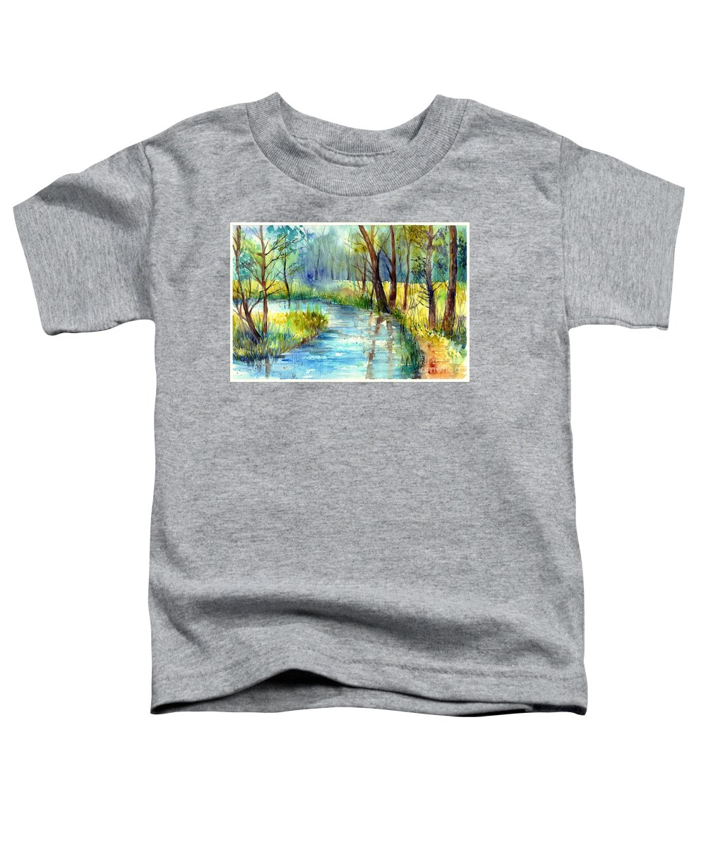 Village Toddler T-Shirt featuring the painting Torrent's Whisper by Suzann Sines