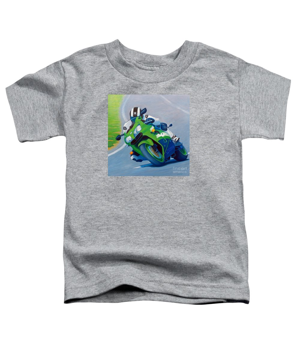 Motorcycle Toddler T-Shirt featuring the painting Track Day - Kawasaki Zx9 by Brian Commerford