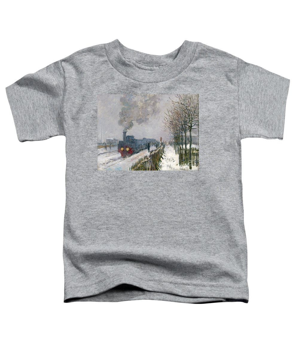 Train Toddler T-Shirt featuring the painting Train In The Snow Or The Locomotive by Claude Monet