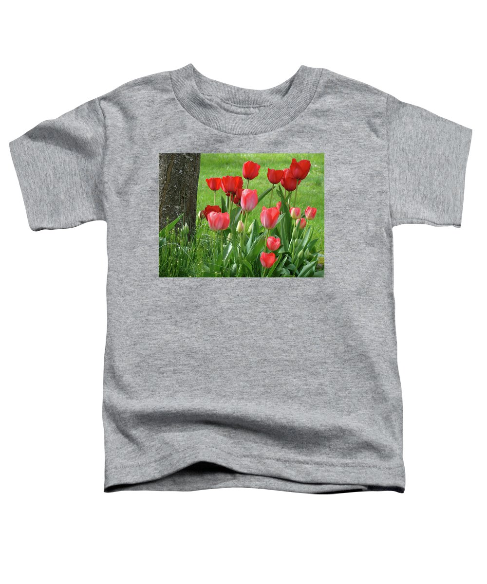 �tulips Artwork� Toddler T-Shirt featuring the photograph Tulips Flowers Art Prints Spring Tulip Flower Artwork Nature Art by Baslee Troutman