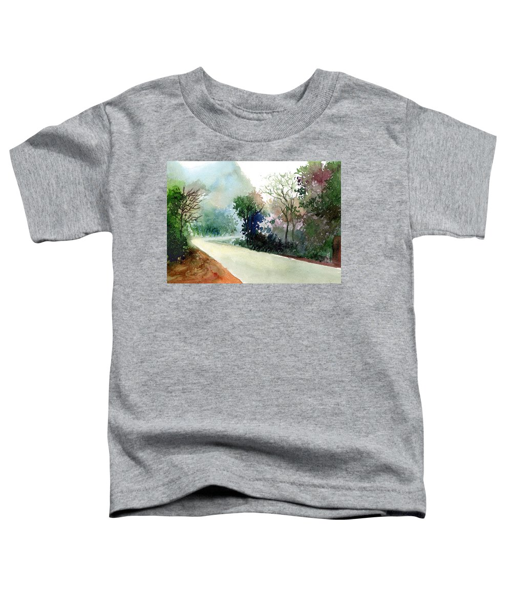 Landscape Water Color Nature Greenery Light Pathway Toddler T-Shirt featuring the painting Turn Right by Anil Nene