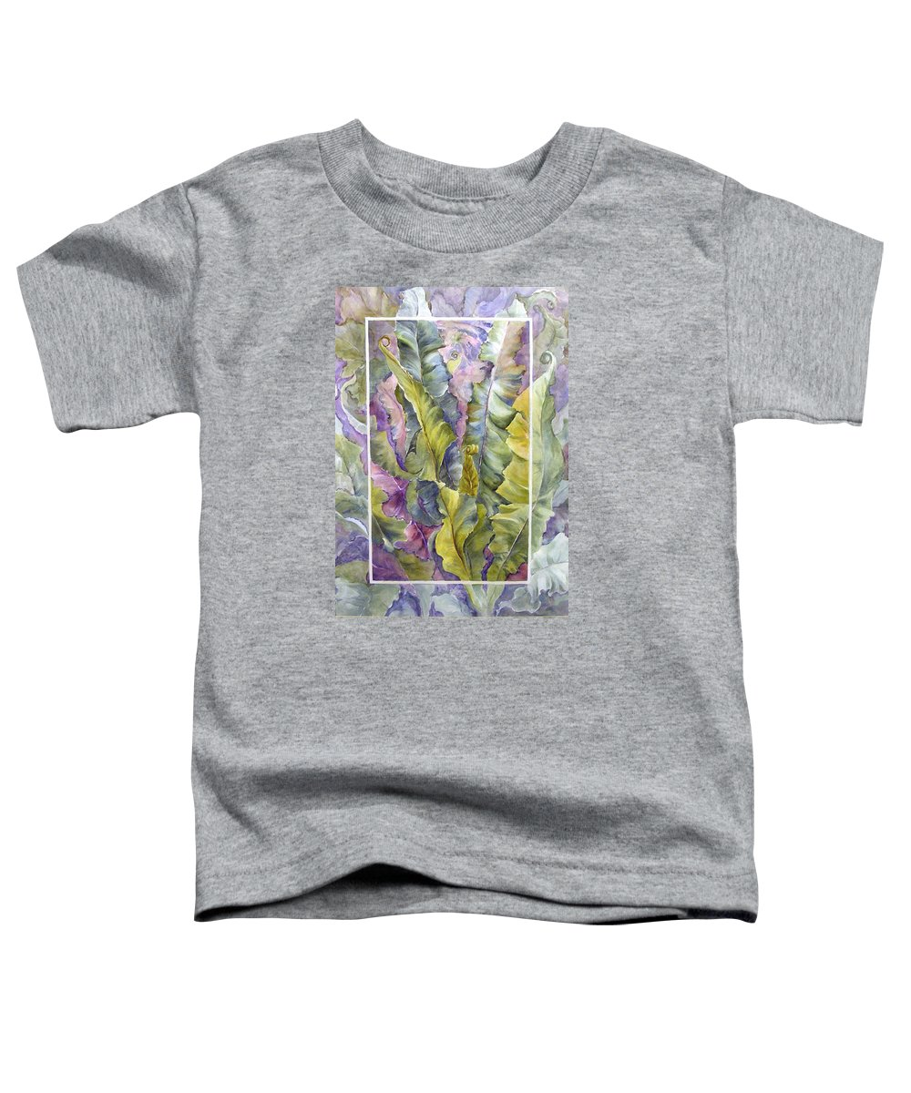 Ferns;floral; Toddler T-Shirt featuring the painting Turns Of Ferns by Lois Mountz