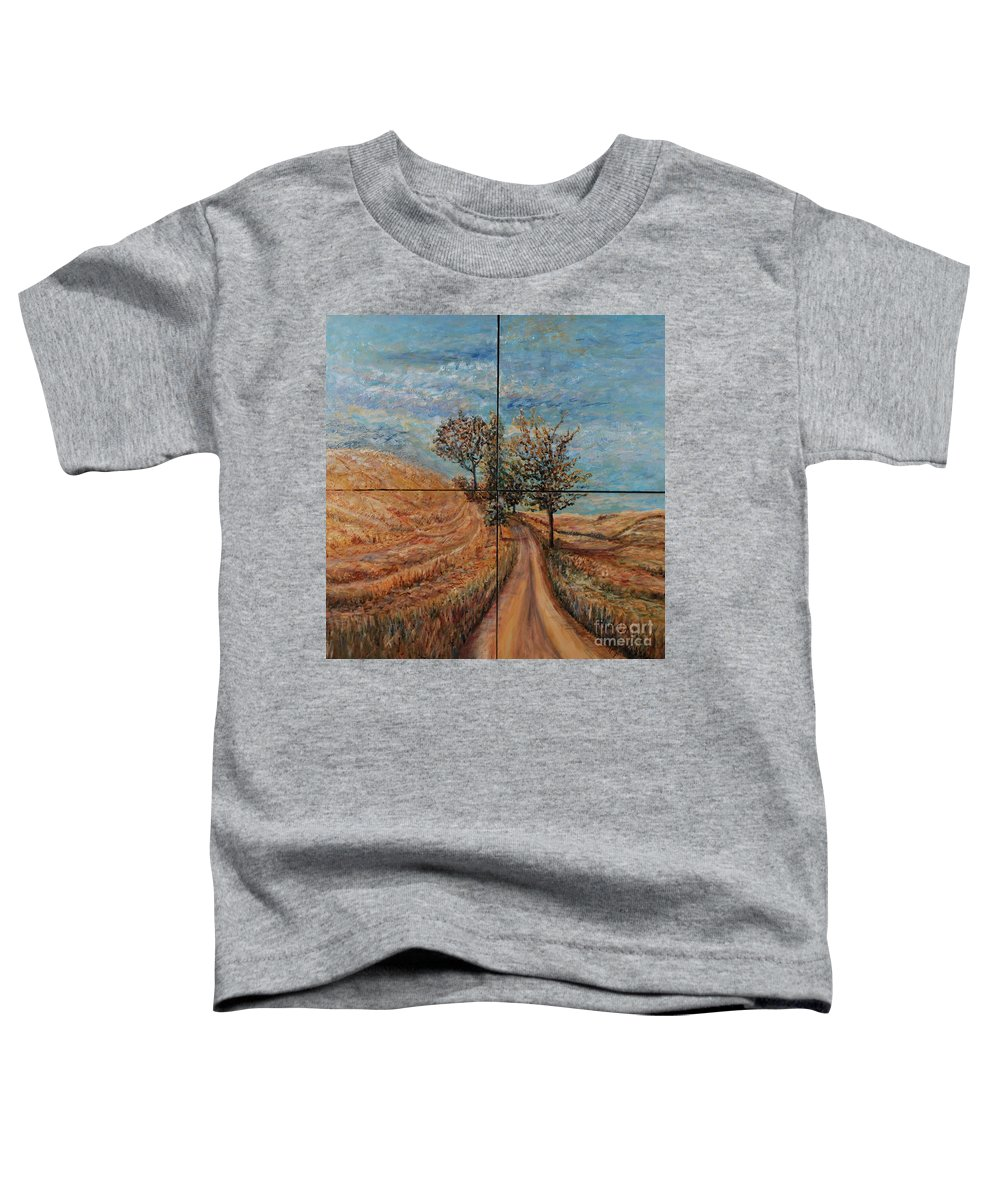 Landscape Toddler T-Shirt featuring the painting Tuscan Journey by Nadine Rippelmeyer