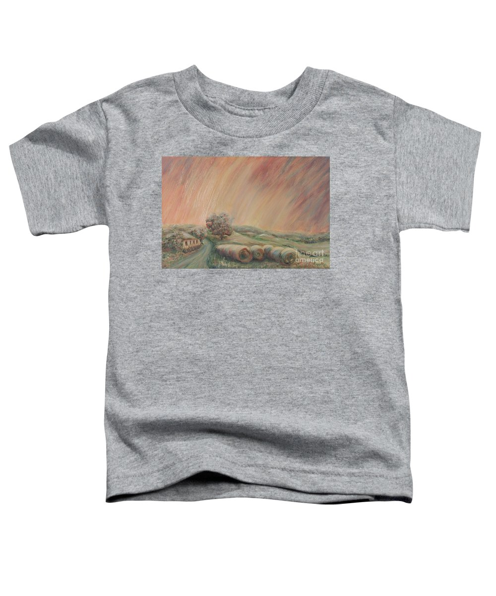 Landscape Toddler T-Shirt featuring the painting Tuscany Hayfields by Nadine Rippelmeyer