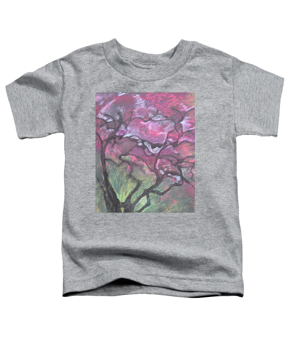 Pastel Toddler T-Shirt featuring the drawing Twisted Cherry by Leah Tomaino