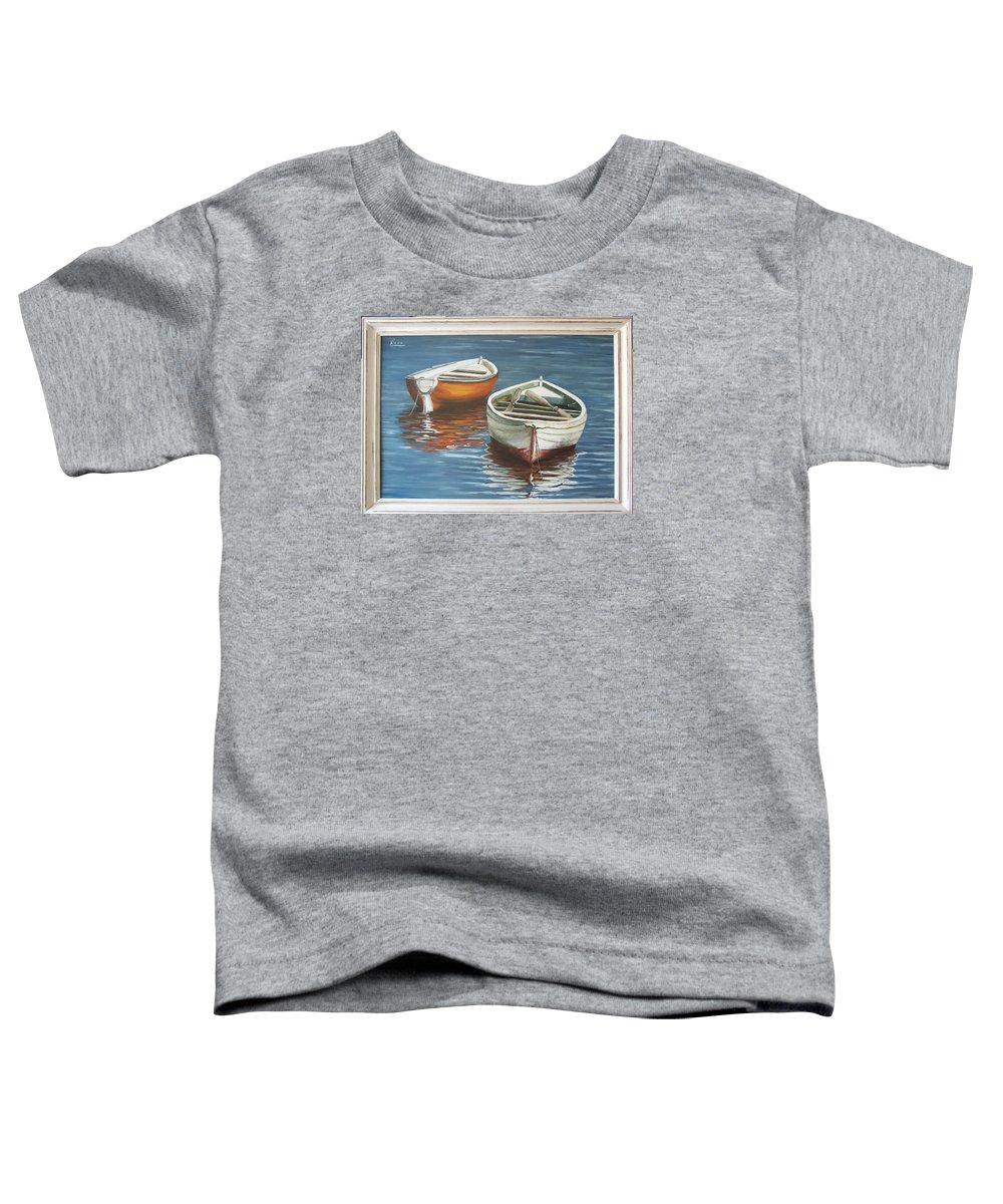 Boats Reflection Seascape Water Boat Sea Ocean Toddler T-Shirt featuring the painting Two Boats by Natalia Tejera