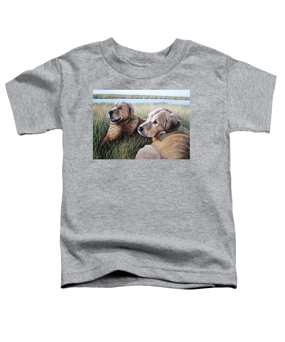 Dogs Toddler T-Shirt featuring the painting Two Golden Retriever by Nicole Zeug