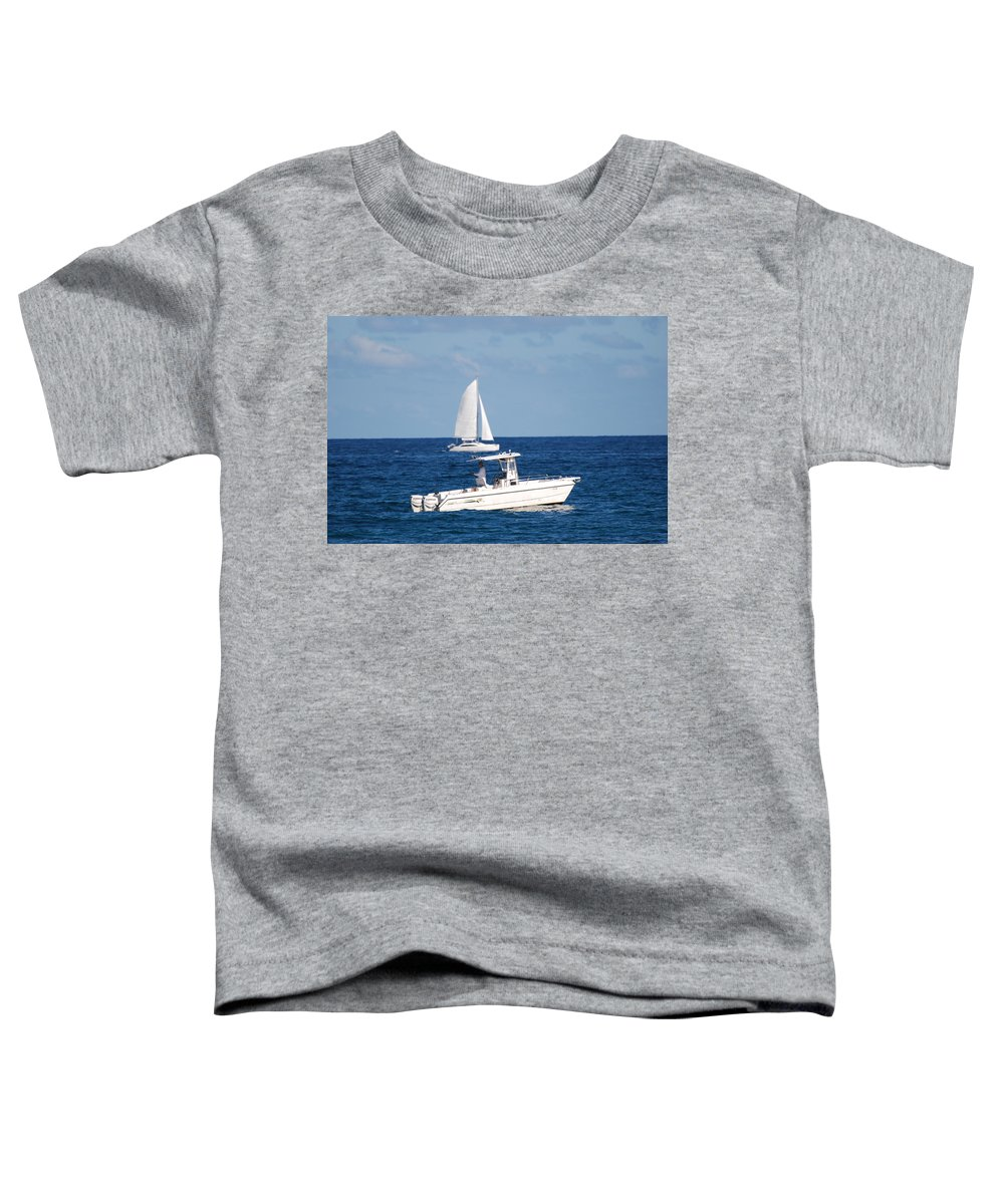 Sea Scape Toddler T-Shirt featuring the photograph Two Ships That Pass Thru The Day by Rob Hans