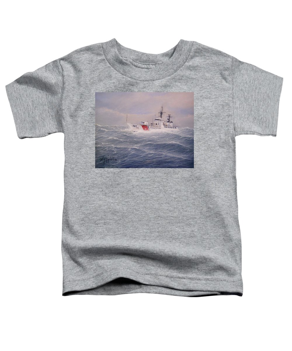 Ship Toddler T-Shirt featuring the painting U. S. Coast Guard Cutter Gallitin by William H RaVell III