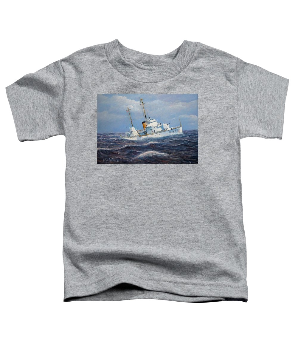 Marine Art Toddler T-Shirt featuring the painting U. S. Coast Guard Cutter Sebago Takes A Roll by William H RaVell III
