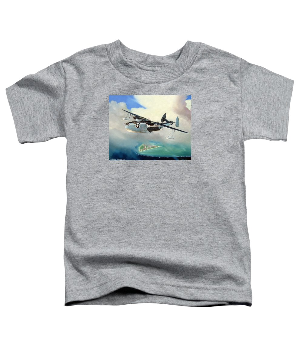 Military Toddler T-Shirt featuring the painting Uncle Bubba's Flying Boat by Marc Stewart