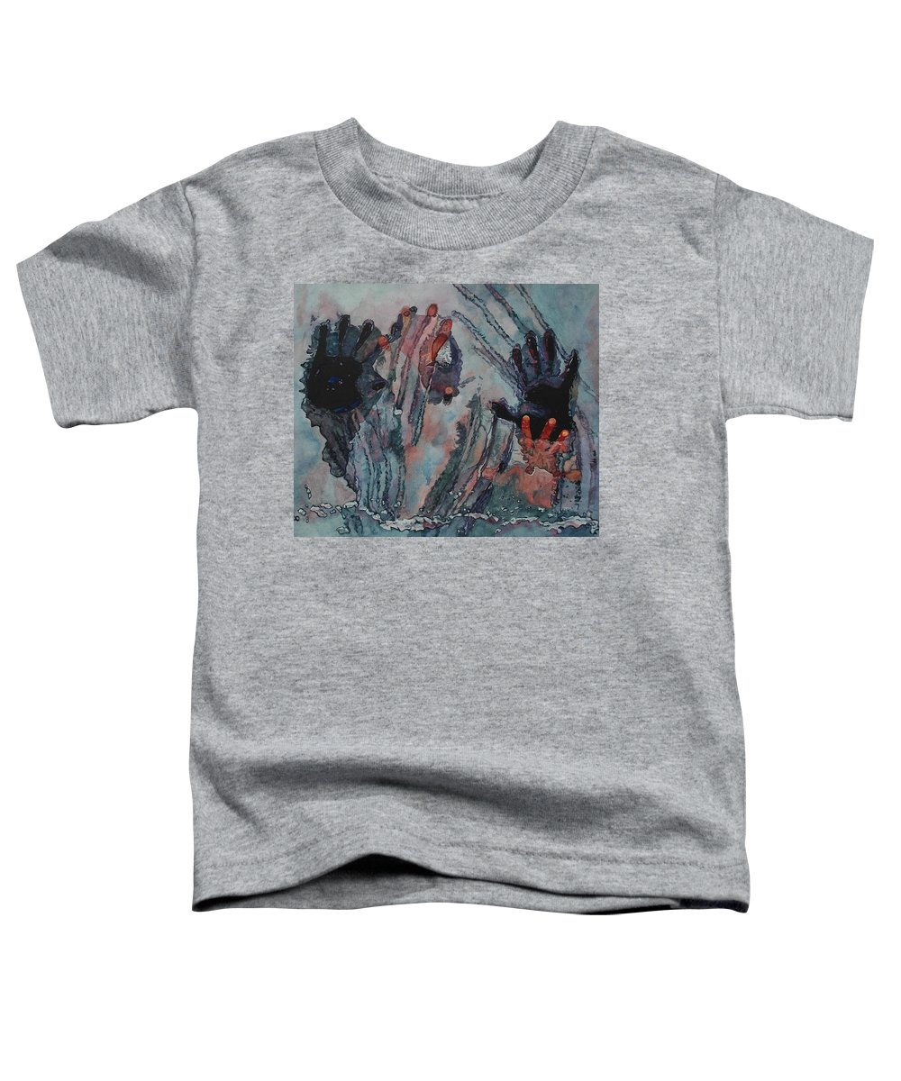 Underneath Toddler T-Shirt featuring the painting Under Ice by Valerie Patterson