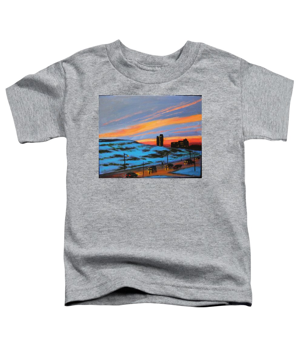 City At Night Toddler T-Shirt featuring the painting View From My Balcony by John Malone