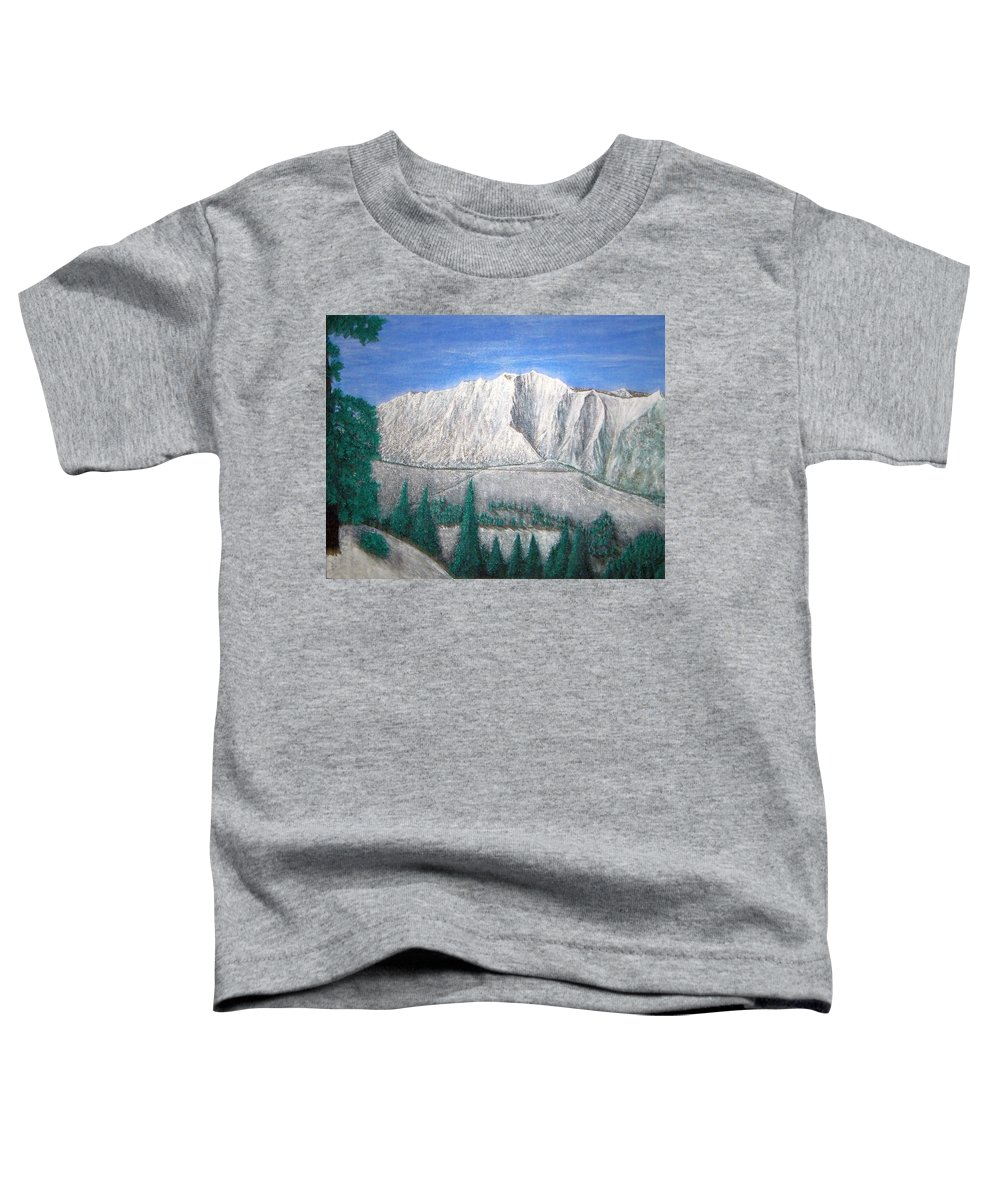 Snow Toddler T-Shirt featuring the painting Viewfrom Spruces by Michael Cuozzo