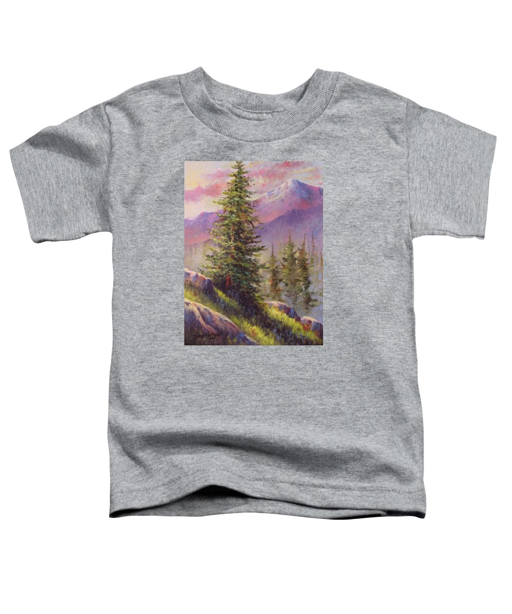 Mountain Toddler T-Shirt featuring the painting Vista View by David G Paul
