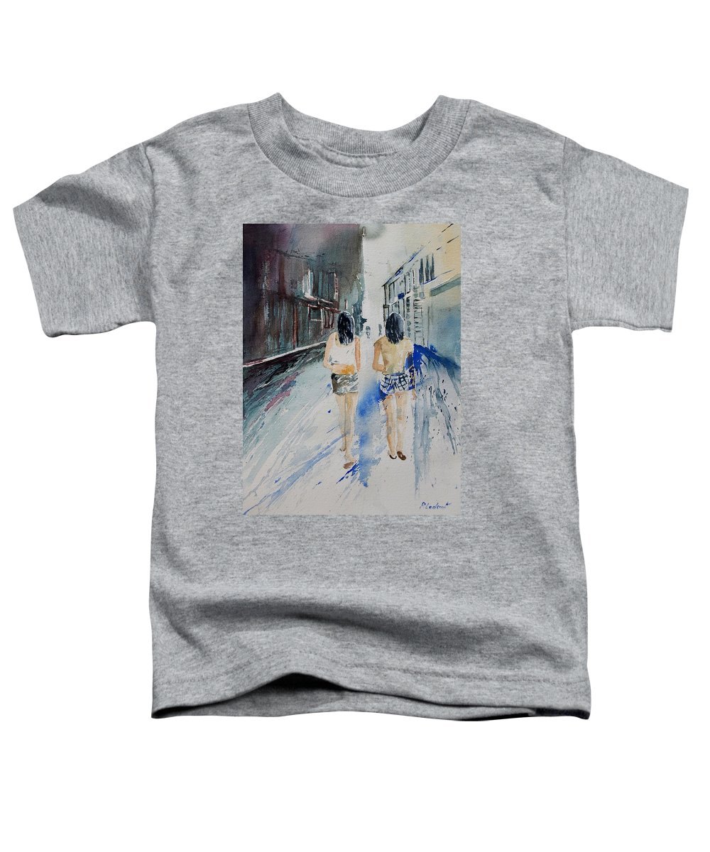 Girl Toddler T-Shirt featuring the painting Walking In The Street by Pol Ledent