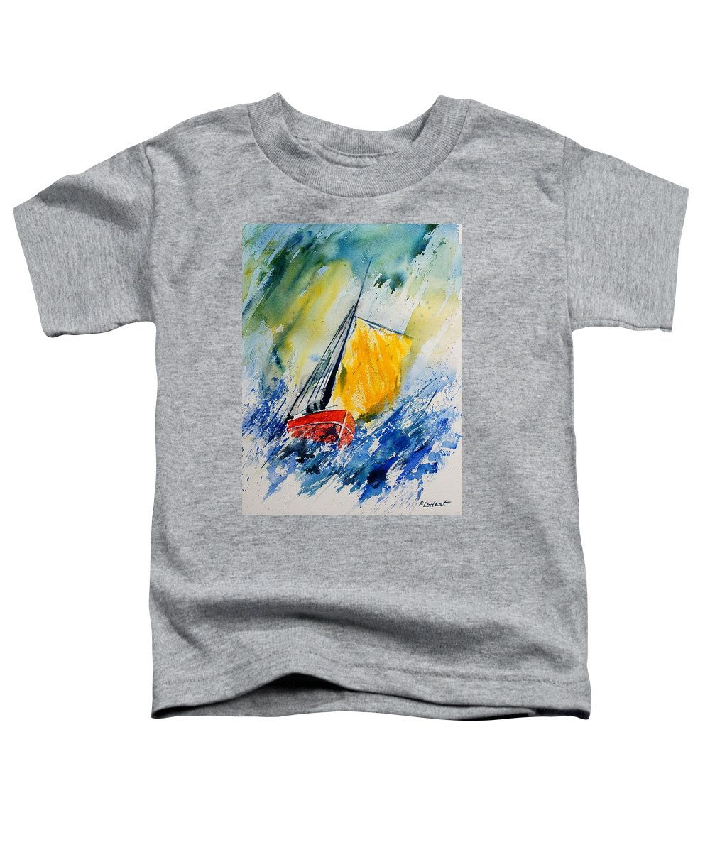 Sea Waves Ocean Boat Sailing Toddler T-Shirt featuring the painting Watercolor 280308 by Pol Ledent