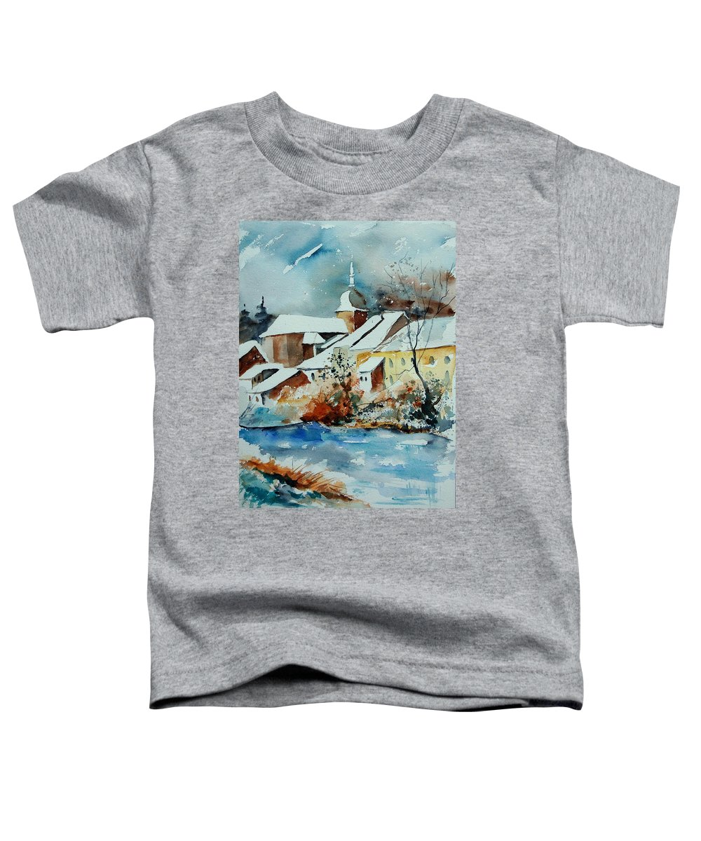 Landscape Toddler T-Shirt featuring the painting Watercolor Chassepierre by Pol Ledent