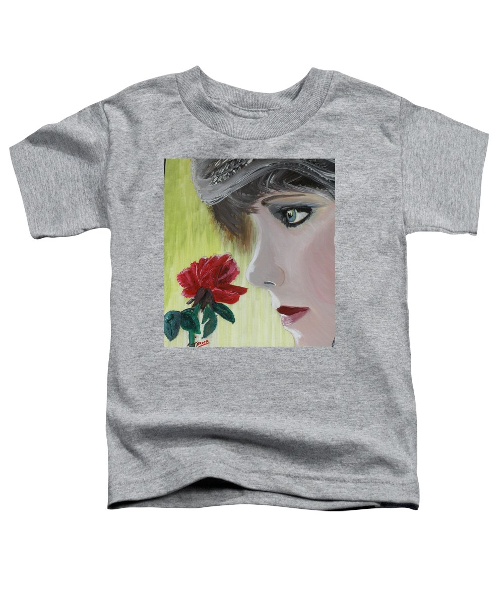 Romance Toddler T-Shirt featuring the painting Wedding Rose by J Bauer