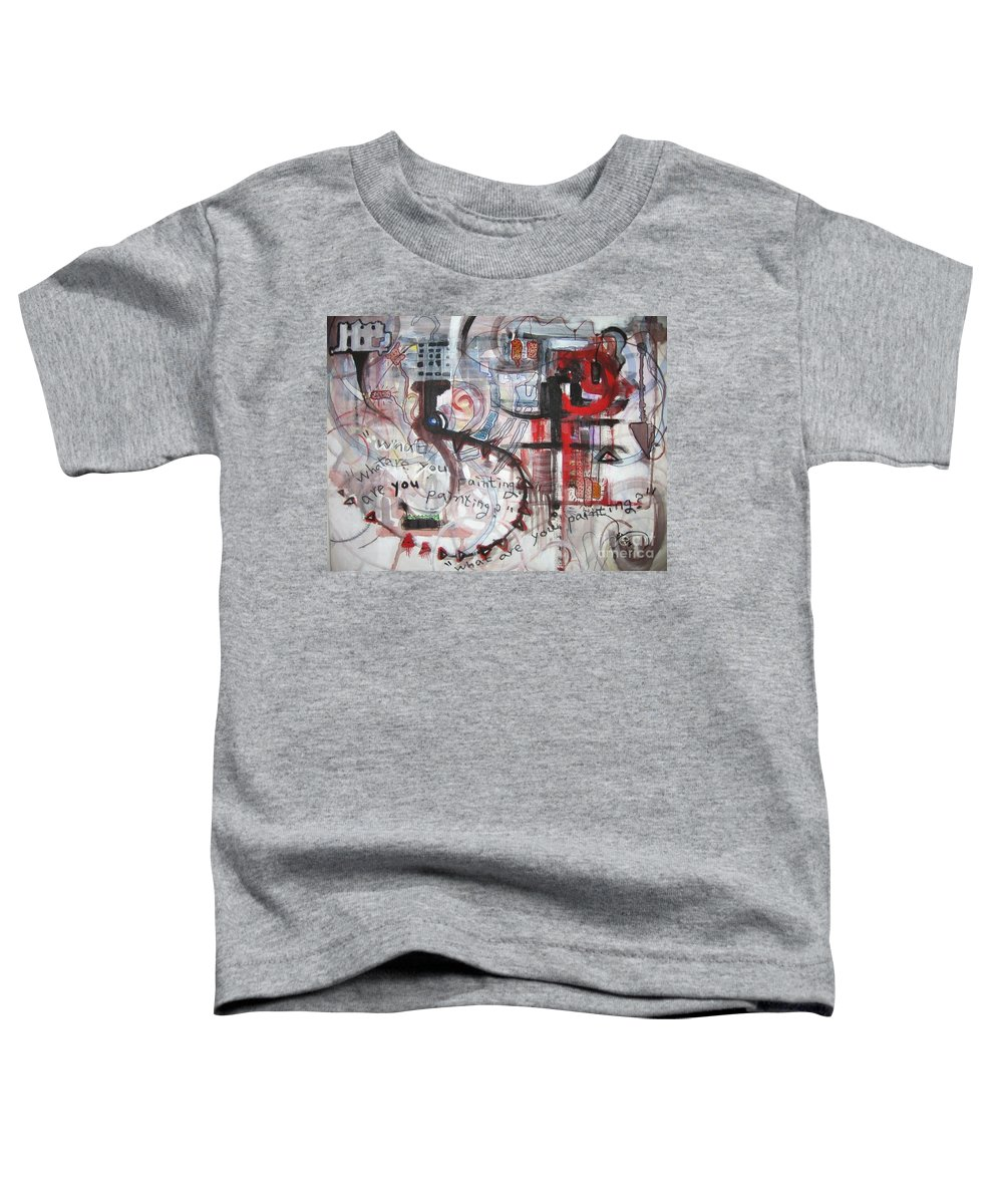 Abstract Paintings Toddler T-Shirt featuring the painting What Are You Painting-red And Brown Painting by Seon-Jeong Kim