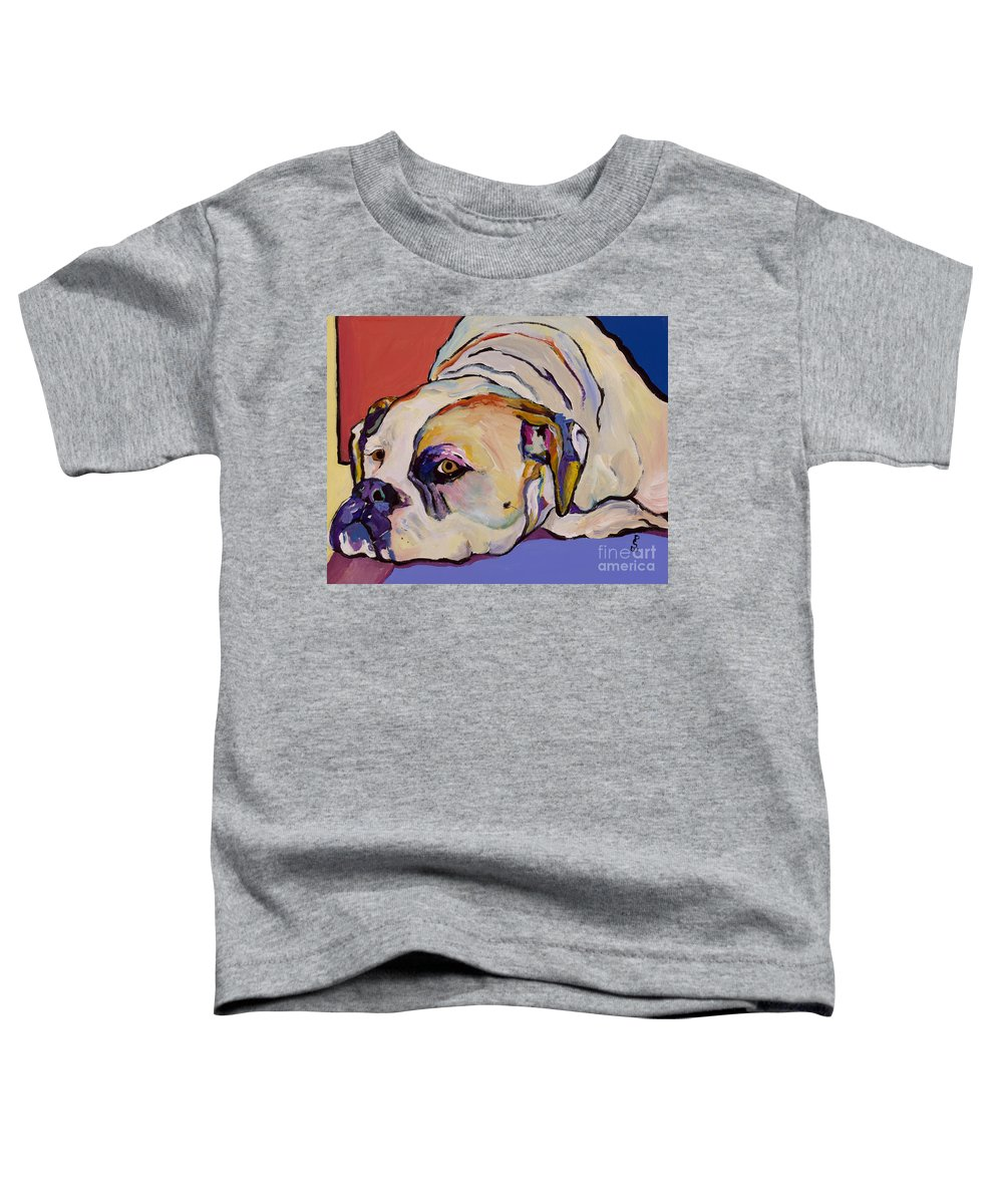 American Bulldog Toddler T-Shirt featuring the painting Where Is My Dinner by Pat Saunders-White