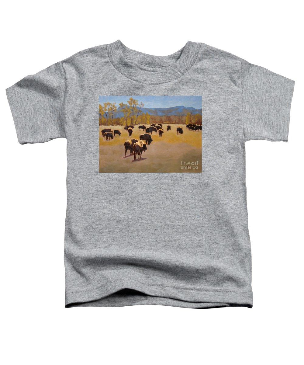 Buffalo Toddler T-Shirt featuring the painting Where The Buffalo Roam by Tate Hamilton
