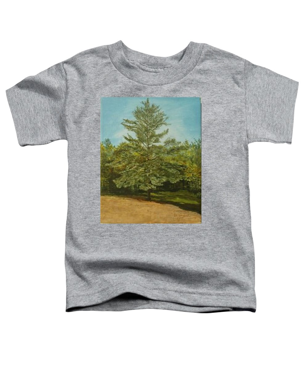 Pine Tree Toddler T-Shirt featuring the painting White Lake by Leah Tomaino