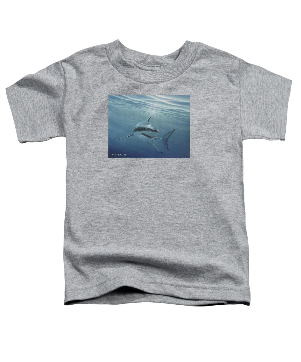 Shark Toddler T-Shirt featuring the painting White Shark by Angel Ortiz