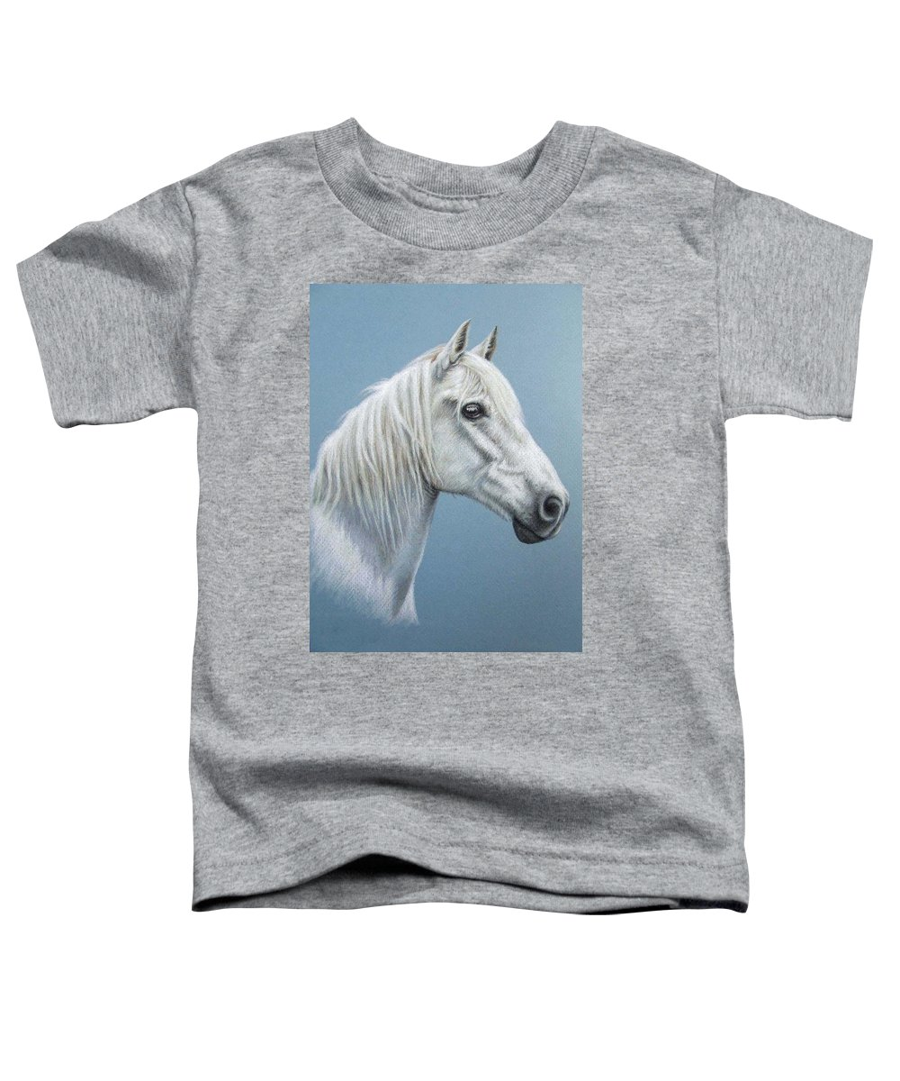 Horse Stallion White Pferd Portrait Animal Realism Pastel Toddler T-Shirt featuring the pastel White Stallion by Nicole Zeug