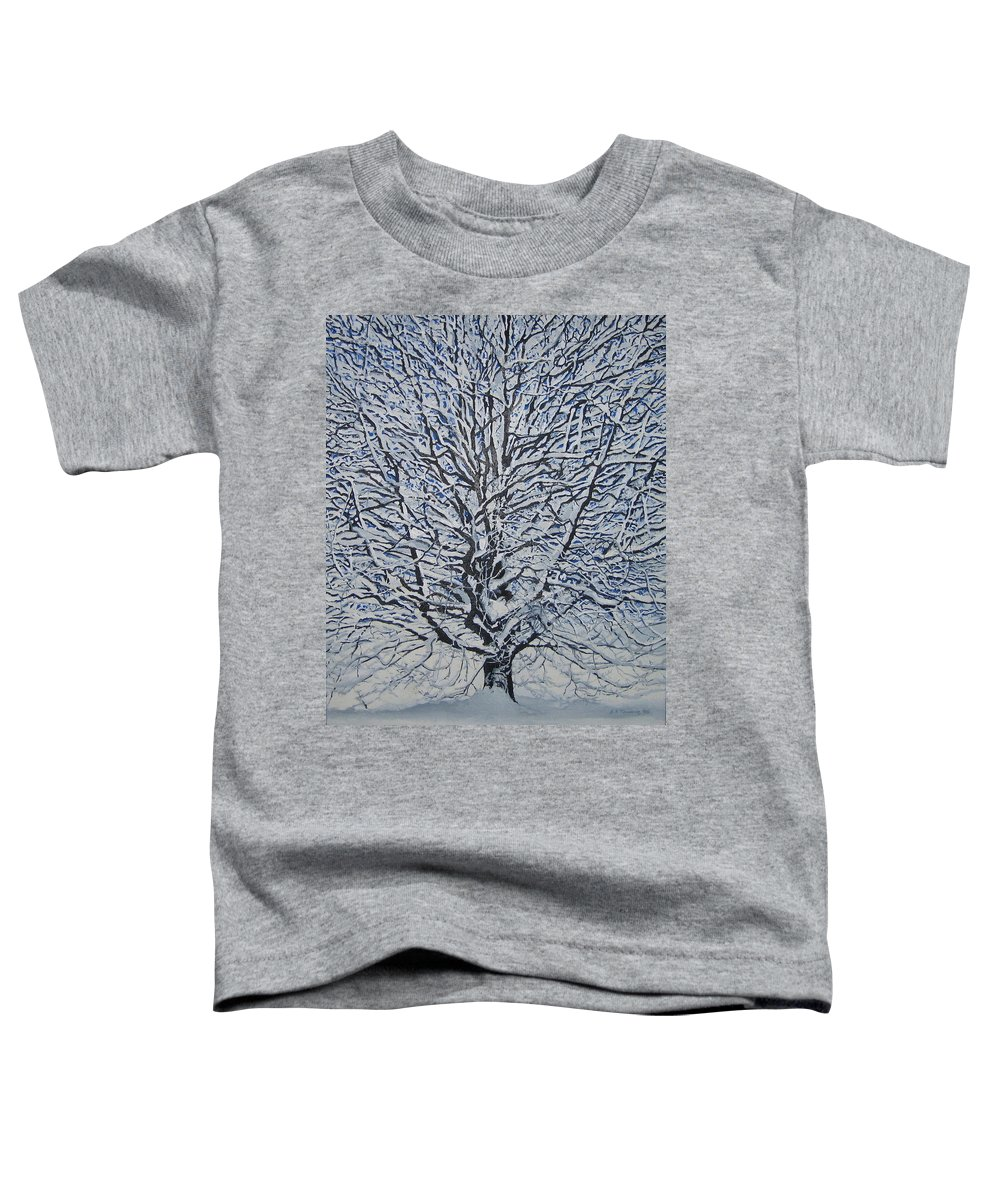 Winter Toddler T-Shirt featuring the painting Winter '05 by Leah Tomaino