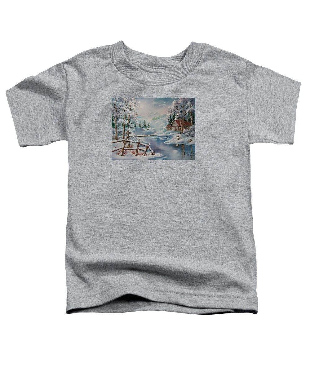 Winter Scapes Toddler T-Shirt featuring the painting Winter In The Valley by Irene Clarke