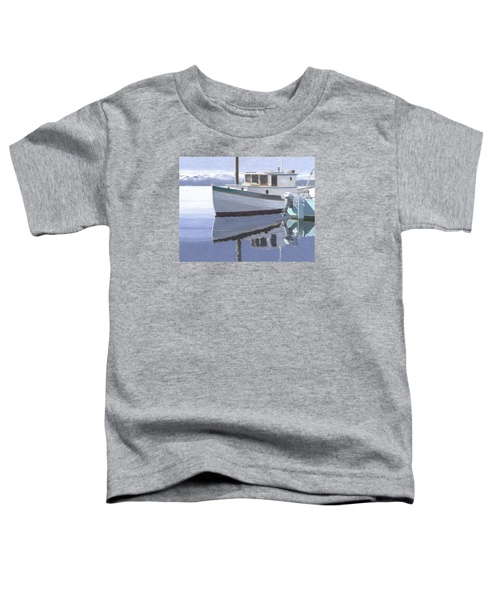 Marine Toddler T-Shirt featuring the painting Winter Moorage by Gary Giacomelli