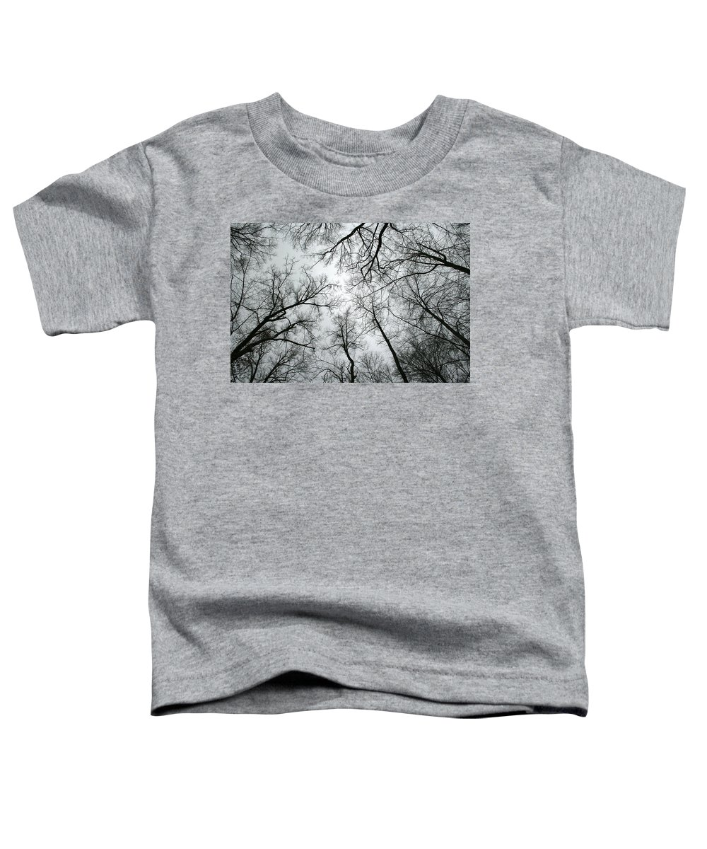 Winter Sky Tree Trees Grey Gloomy Peaceful Quite Calm Peace Cloudy Overcast Dark Toddler T-Shirt featuring the photograph Winter Sky by Andrei Shliakhau